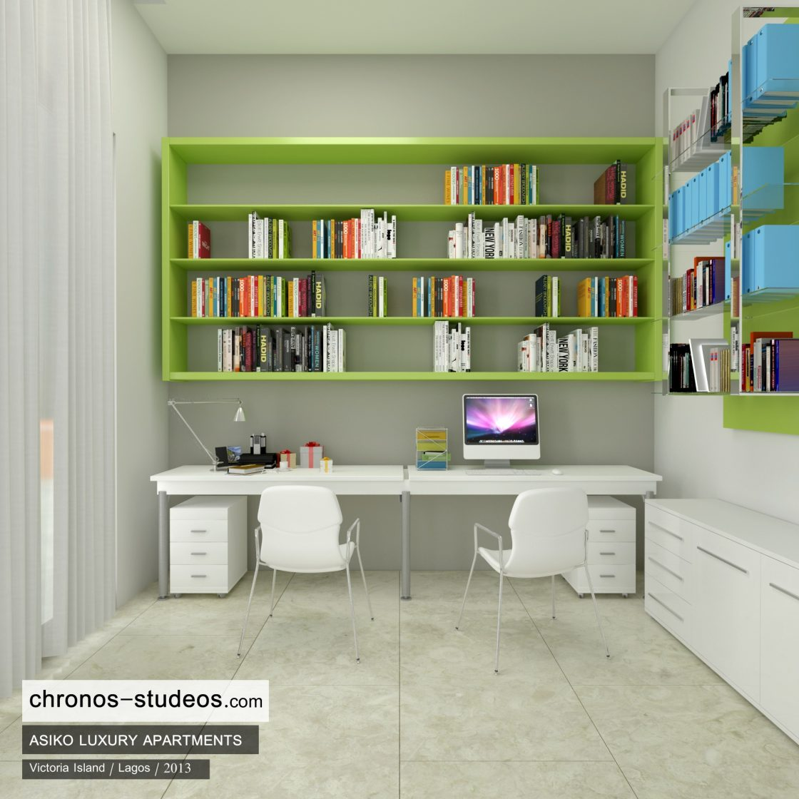 3d visualization project of study room interior design