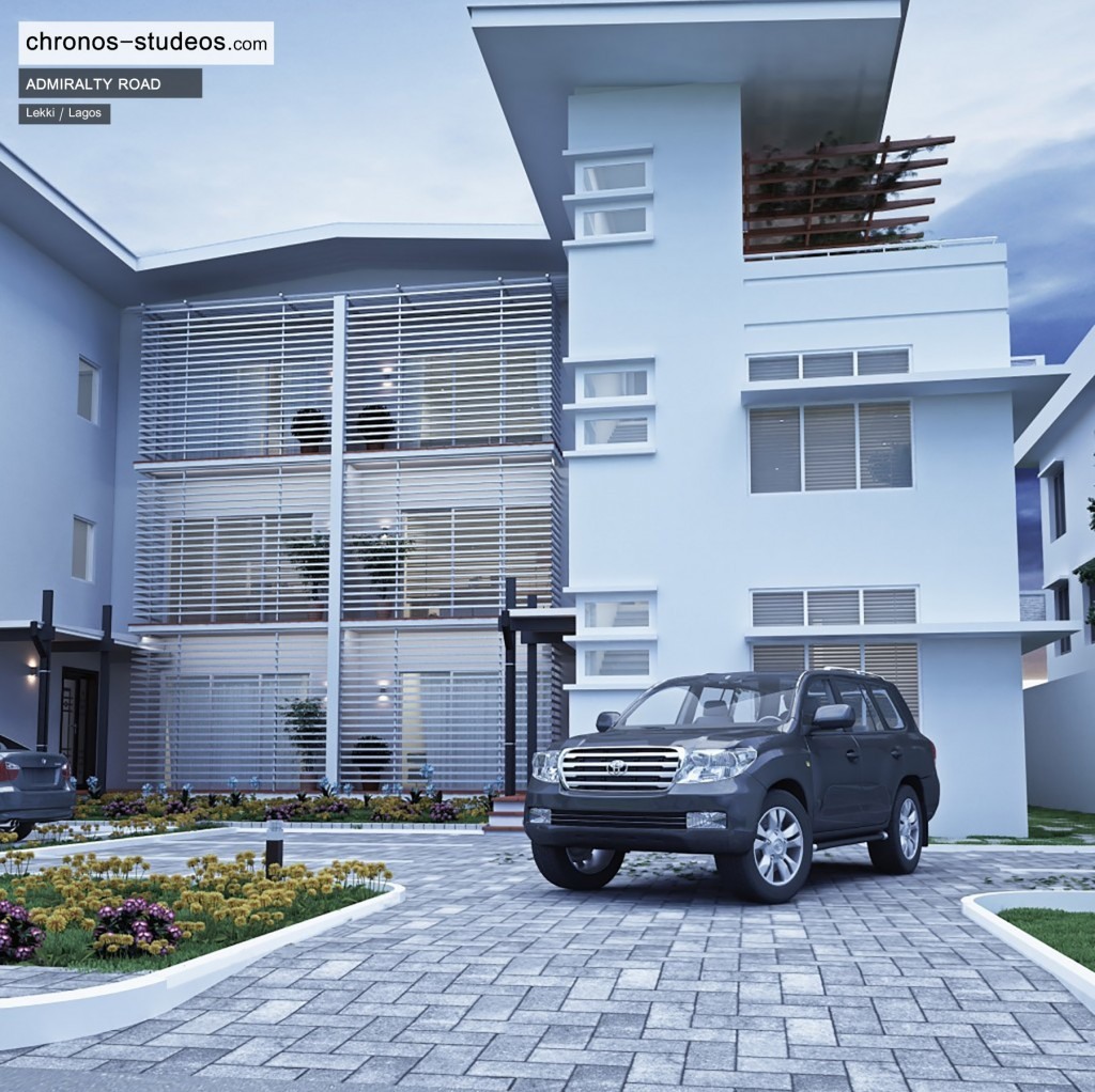 Admiralty Road exterior 3D visualization by Chronos Studeos Architects - Purveyors of Luxury Living in Lagos Nigeria