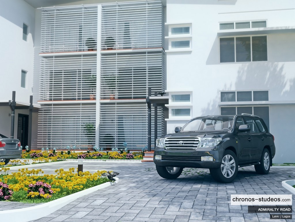 Admiralty Road landscaped exterior 3D visualization by Chronos Studeos in Lagos Nigeria - Quality paving luxury lifestyle