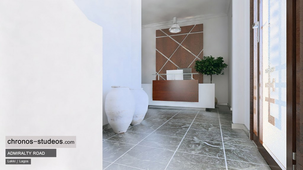 Admiralty Road reception interior 3D visualization by Chronos Studeos in Lagos Nigeria - Quality paving luxury lifestyle