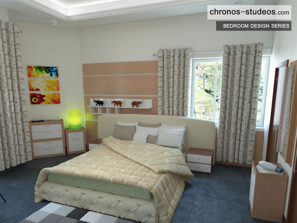 Bedroom 3D Visualization by Chronos Studeos cream and brown wardrobe curtains bedspread