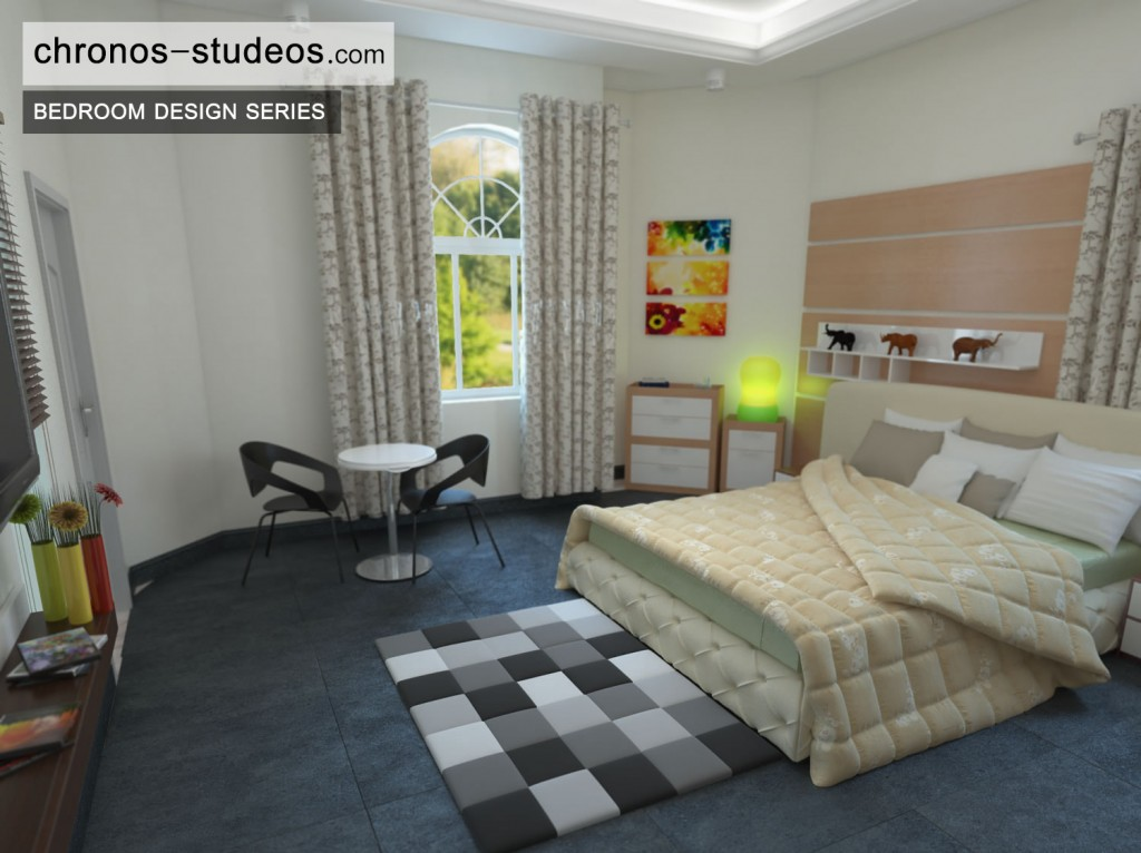 Bedroom 3D Visualization by Chronos Studeos cream and brown wardrobe curtains black and white flooring
