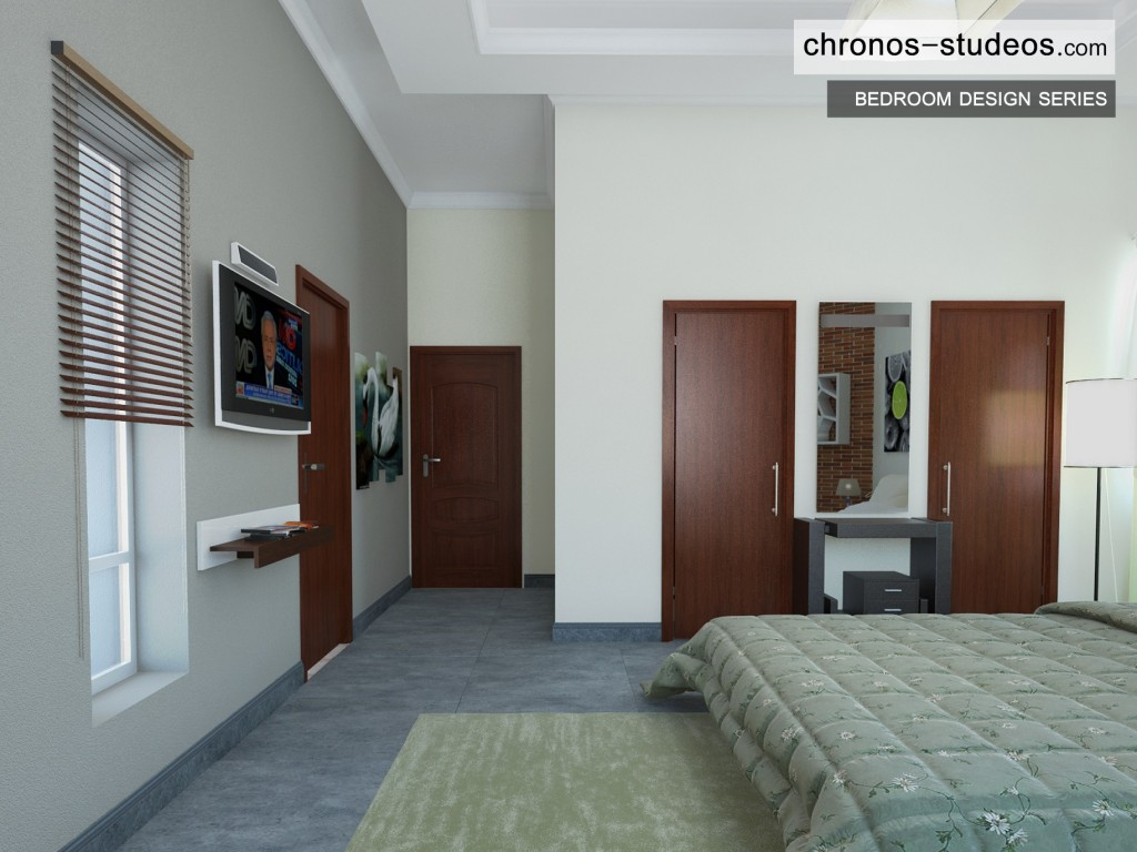 Modern Bedroom 3D Visualization by Chronos Studeos Architects Green and white colour scheme - Designing stylish bedrooms for clients across Nigeria