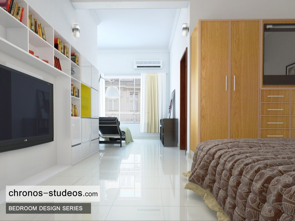 Modern Bedroom 3D Visualization by Chronos Studeos Architects Marble Flooring Quality Design