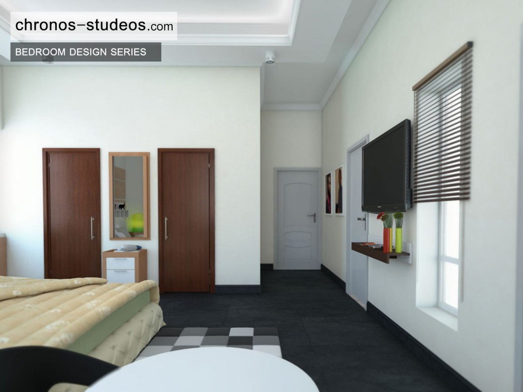 Stylish Bedroom 3D Visualization by Chronos Studeos Architects black and white colour scheme