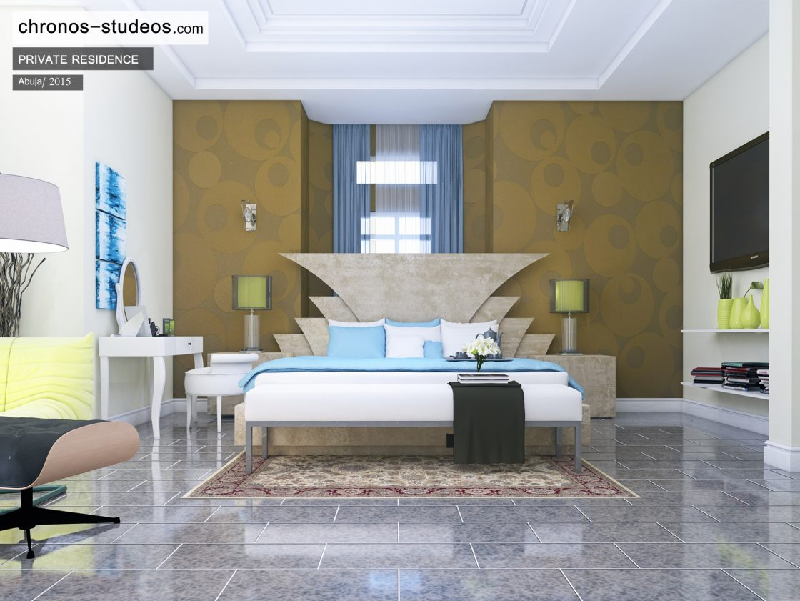 Chronos Studeos Top quality visualizations and designs Abuja Nigeria luxury Master bedroom interior design colour scheme