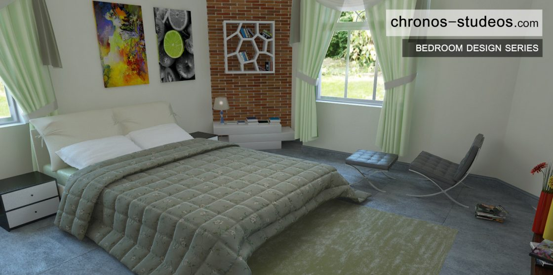 Stylish Bedroom 3D Visualization by Chronos Studeos Architects Architects luxury living pale green bedspread grey flooring