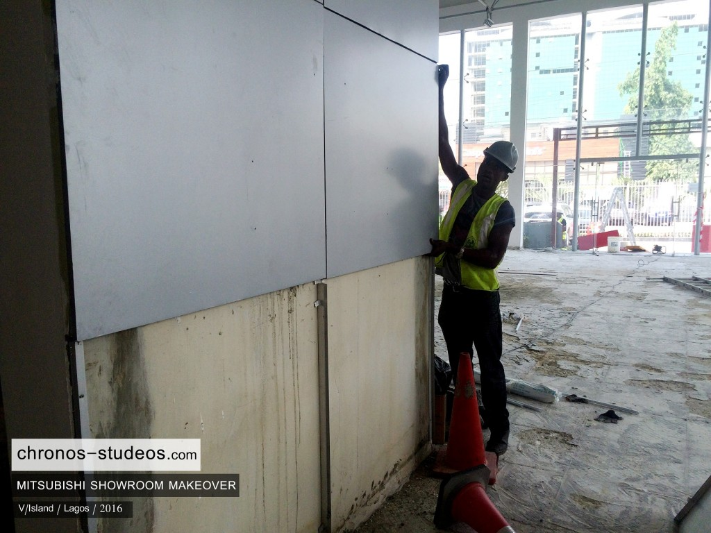 alucobond wall installation lagos car showroom interior design company chronos studeos