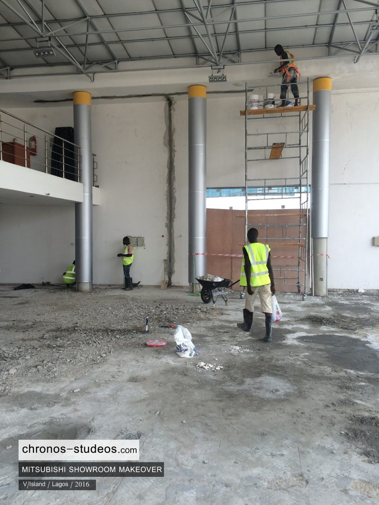 alucobond wall installation lagos car showroom interior design company chronos studeos (2)