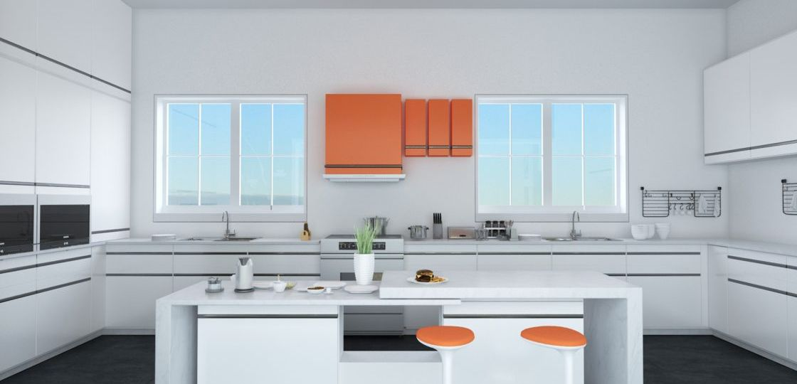 3D-Architectural-Visualization-by-Chronos-Studeos-Victoria-Island-Kitchen-Orange-and-white-interior-design-kitchen-scheme