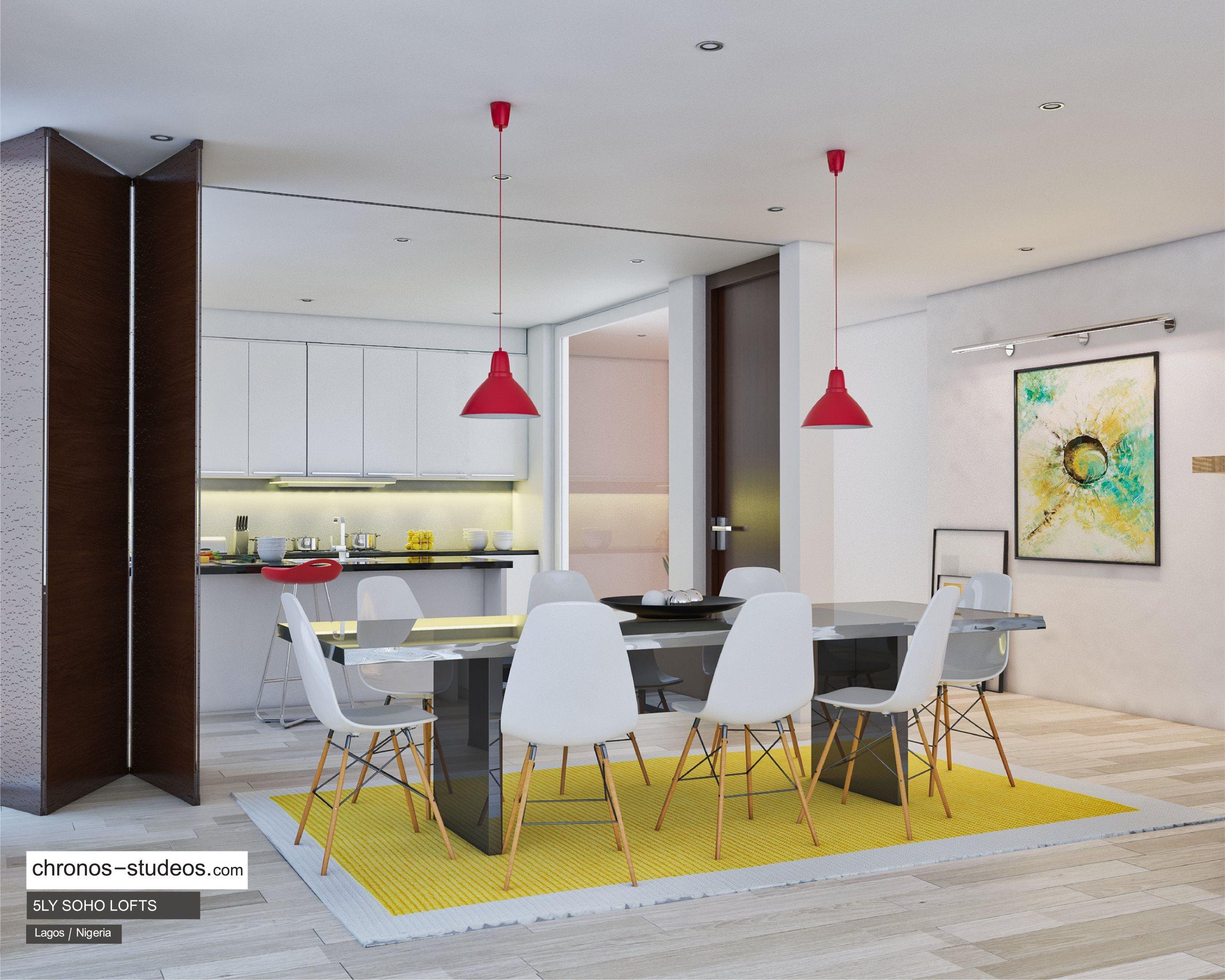 IMAGE: 5LY Soho Loft dining area render by Chronos Studeos
