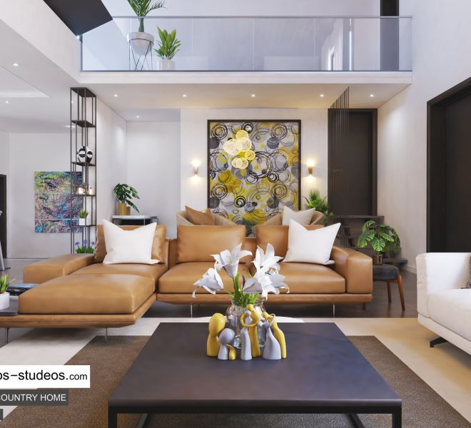 Living room with Painting Modern Contemporary African Home Style Idea