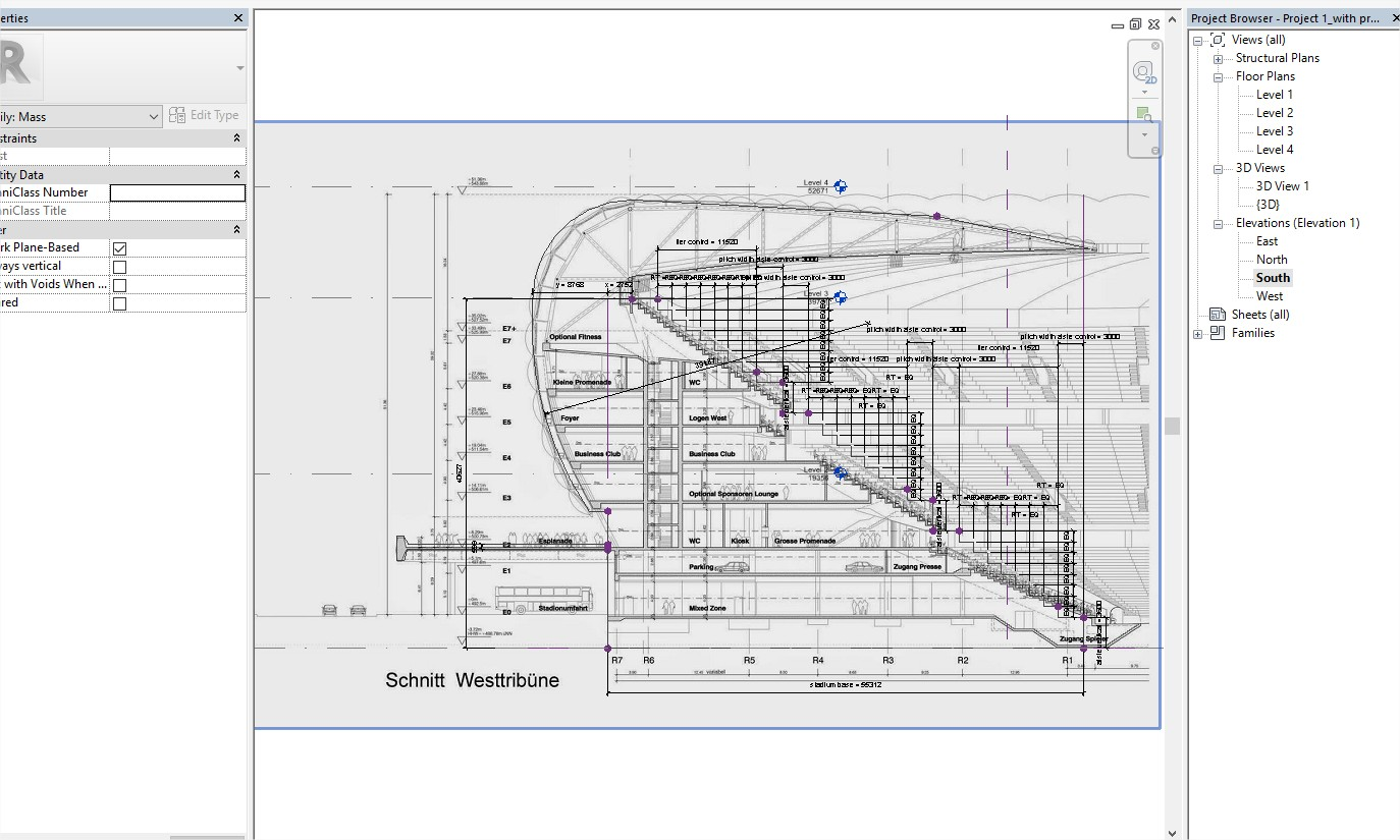 Allianz Arena - Parametric Modelling - sectional profile
