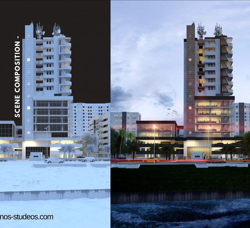 how to render with materials and texture - post production in 3dsmax photoshop lighting in vray rendering (4)